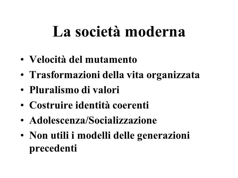La società moderna Velocità del mutamento