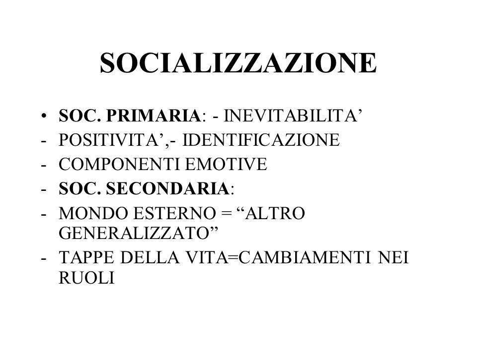 SOCIALIZZAZIONE SOC. PRIMARIA: - INEVITABILITA'