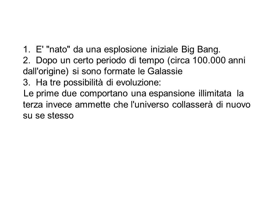 E nato da una esplosione iniziale Big Bang.