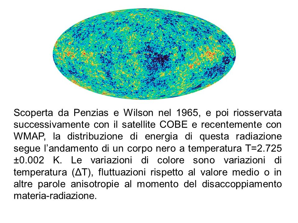 Scoperta da Penzias e Wilson nel 1965, e poi riosservata successivamente con il satellite COBE e recentemente con WMAP, la distribuzione di energia di questa radiazione segue l'andamento di un corpo nero a temperatura T=2.725 ±0.002 K.