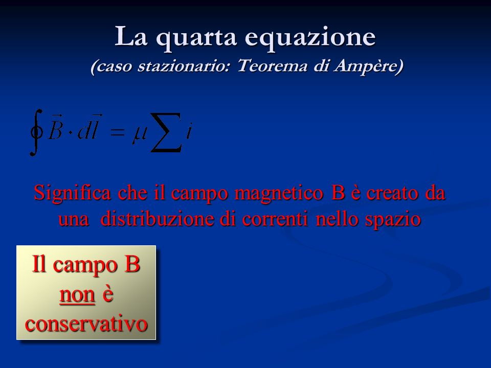 La quarta equazione (caso stazionario: Teorema di Ampère)