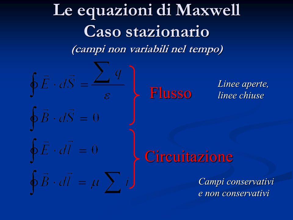 Le equazioni di Maxwell Caso stazionario (campi non variabili nel tempo)