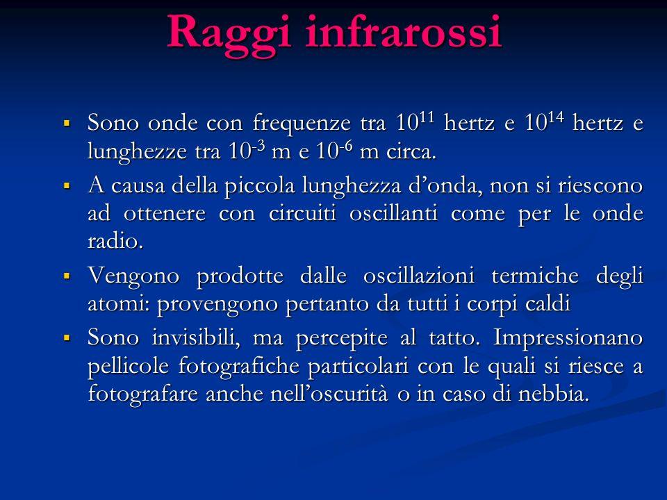 Raggi infrarossi Sono onde con frequenze tra 1011 hertz e 1014 hertz e lunghezze tra 10-3 m e 10-6 m circa.
