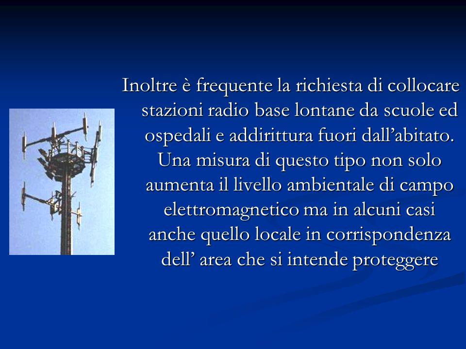 Inoltre è frequente la richiesta di collocare stazioni radio base lontane da scuole ed ospedali e addirittura fuori dall'abitato.