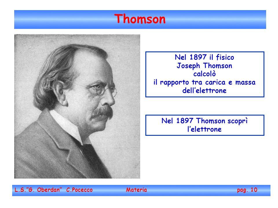 Thomson Nel 1897 il fisico Joseph Thomson calcolò