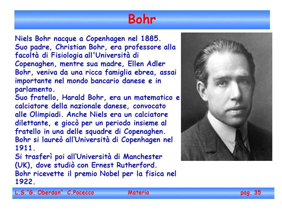 Bohr Niels Bohr nacque a Copenhagen nel 1885.
