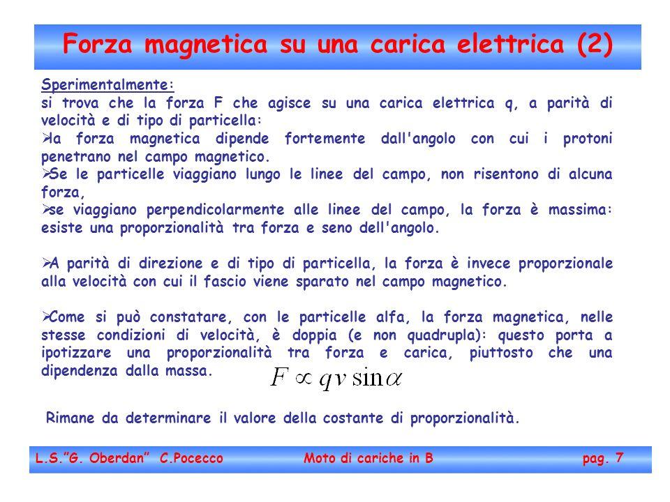 Forza magnetica su una carica elettrica (2)