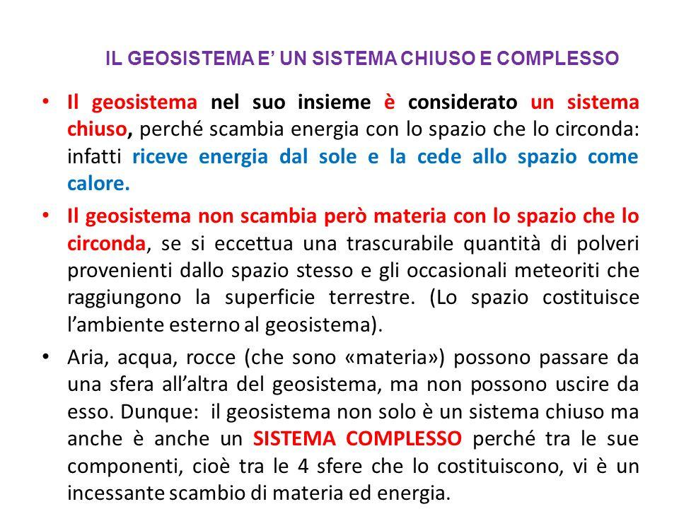 IL GEOSISTEMA E' UN SISTEMA CHIUSO E COMPLESSO