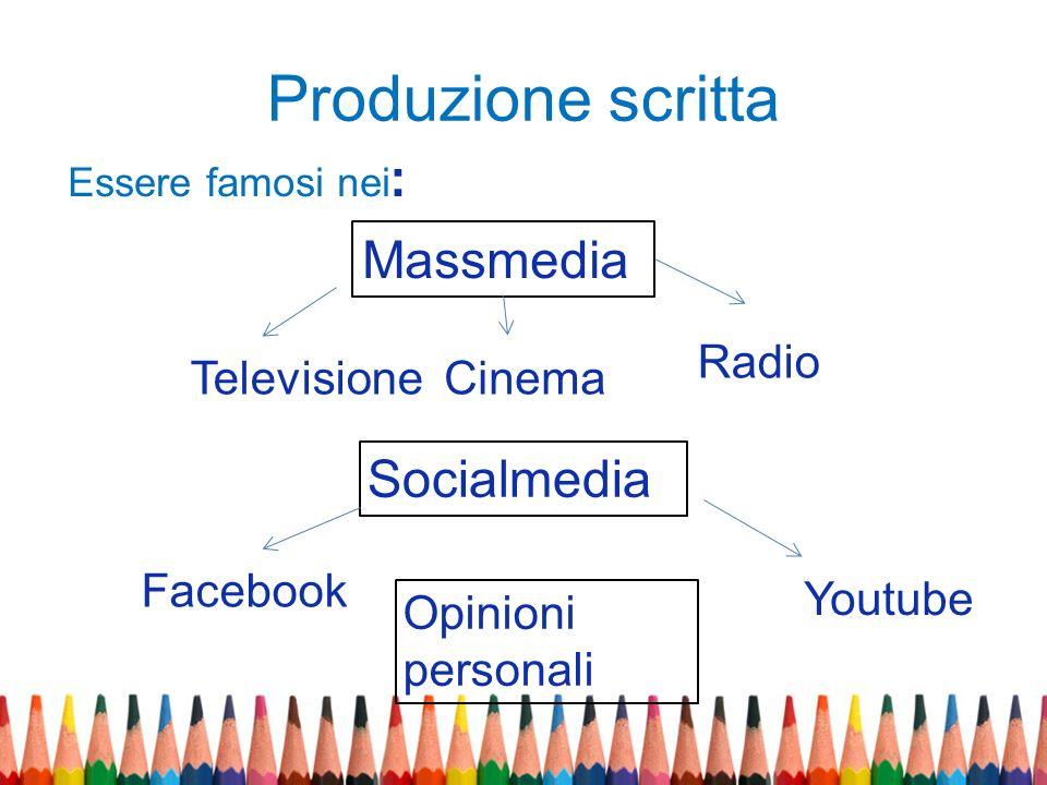 Produzione scritta Massmedia Socialmedia Radio Televisione Cinema