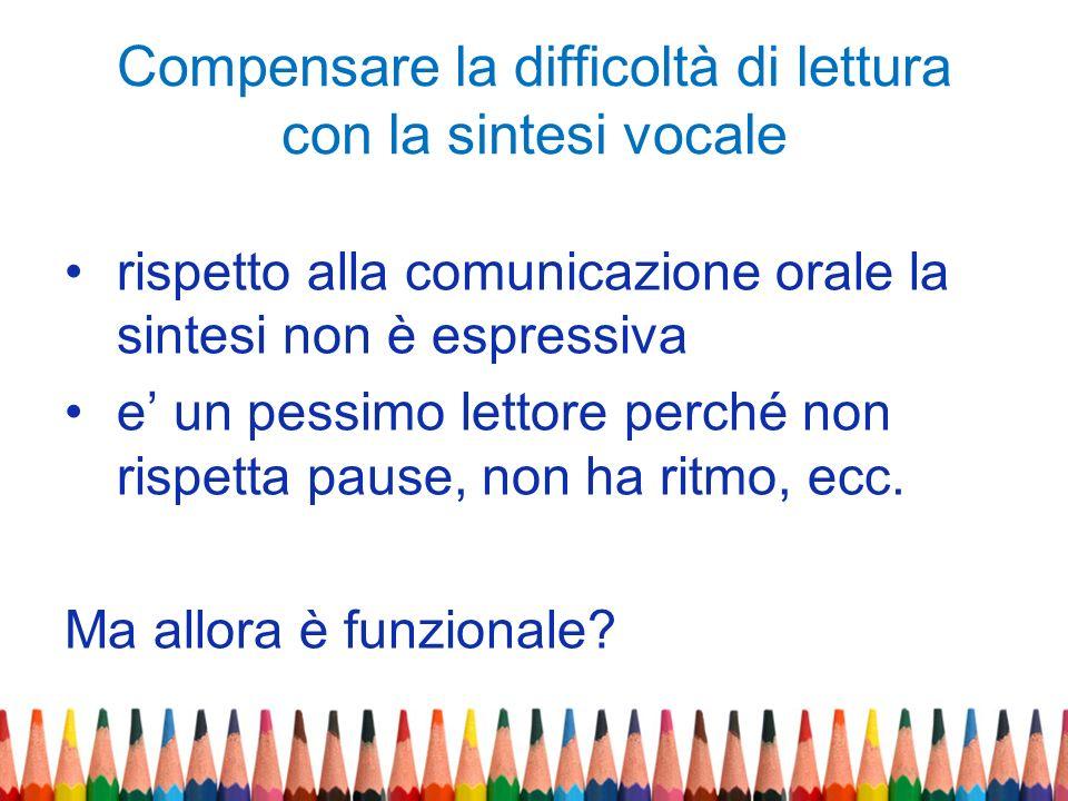 Compensare la difficoltà di lettura con la sintesi vocale