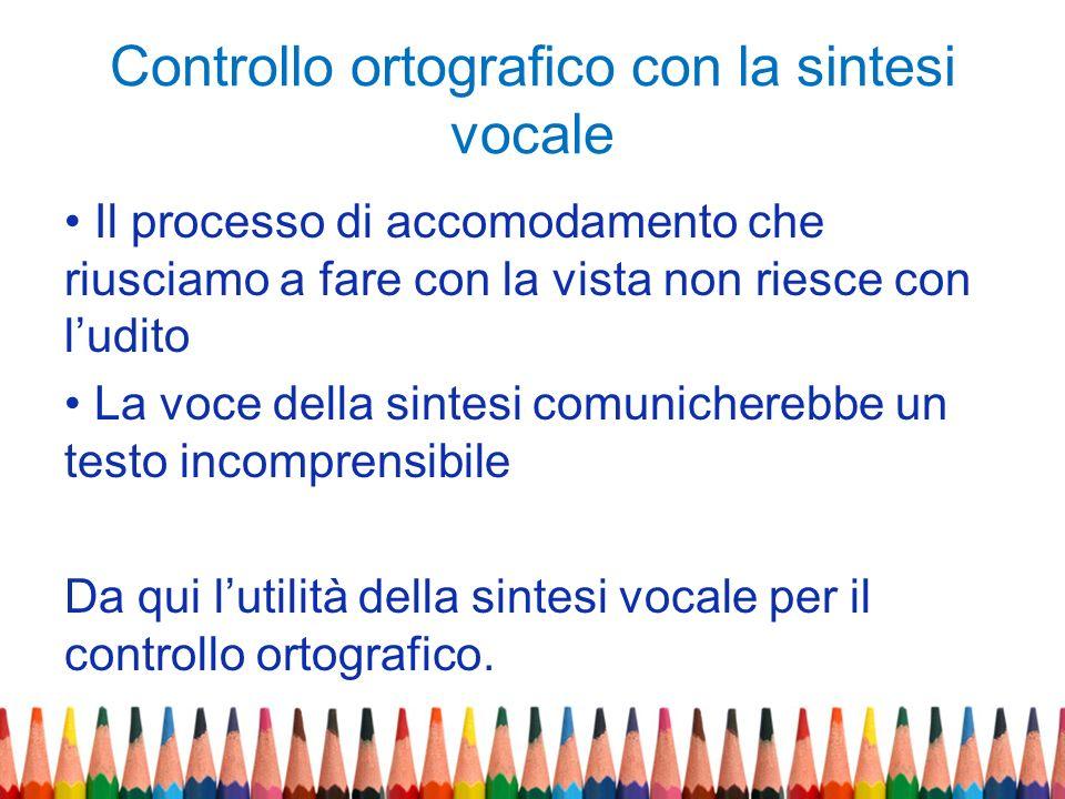 Controllo ortografico con la sintesi vocale
