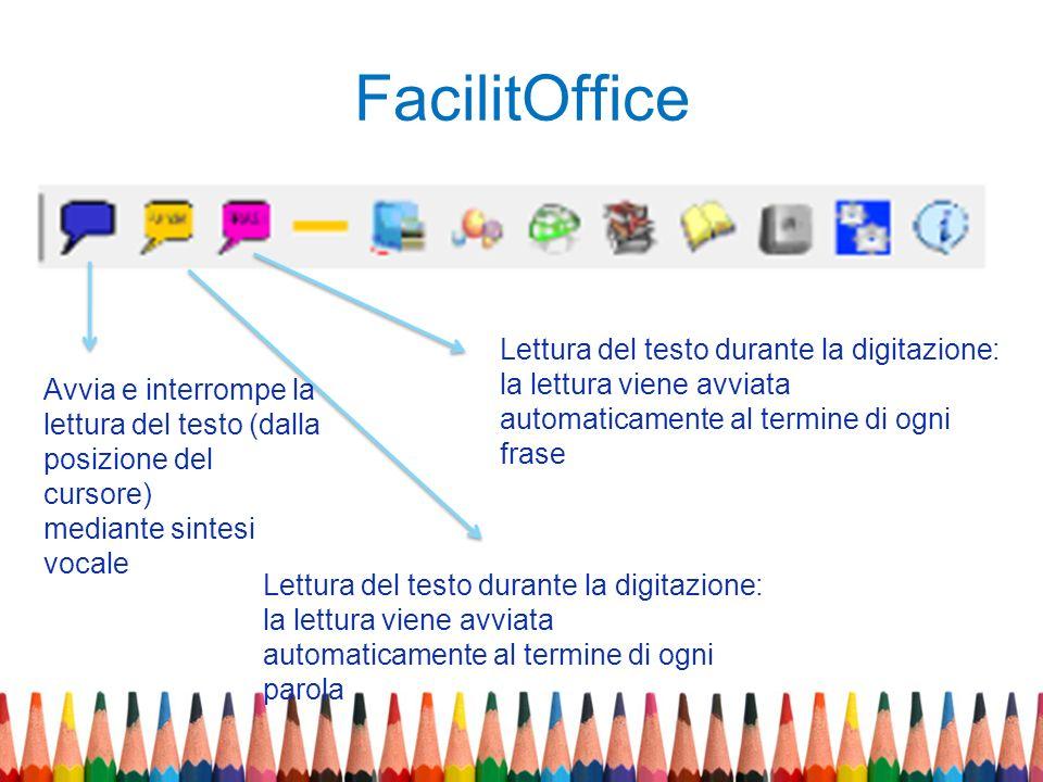 FacilitOffice Lettura del testo durante la digitazione: la lettura viene avviata. automaticamente al termine di ogni frase.
