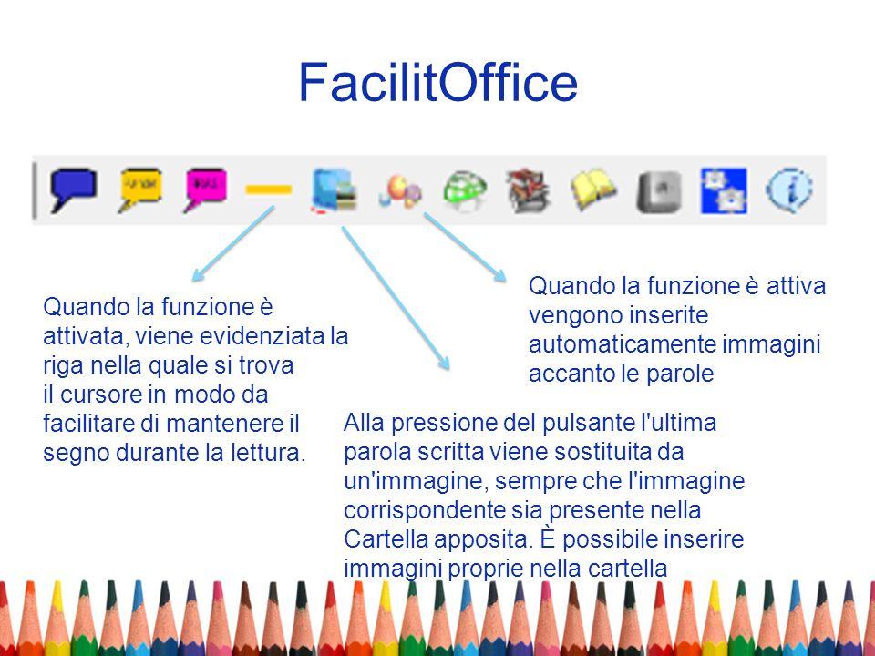 FacilitOffice Quando la funzione è attiva vengono inserite automaticamente immagini. accanto le parole.