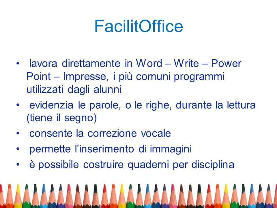FacilitOffice lavora direttamente in Word – Write – Power Point – Impresse, i più comuni programmi utilizzati dagli alunni.