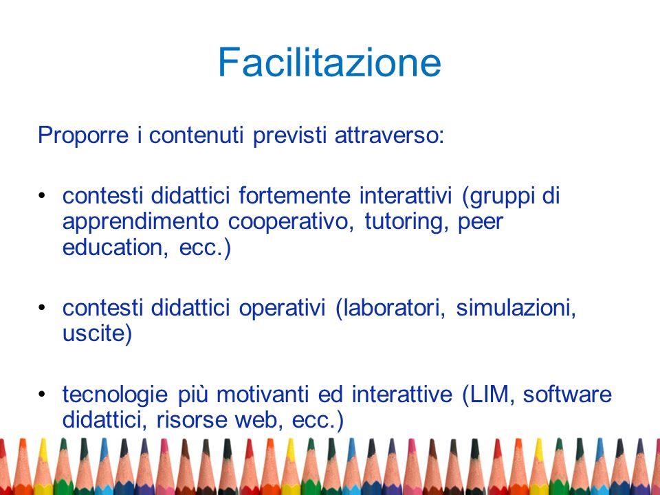 Facilitazione Proporre i contenuti previsti attraverso: