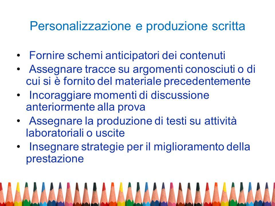 Personalizzazione e produzione scritta