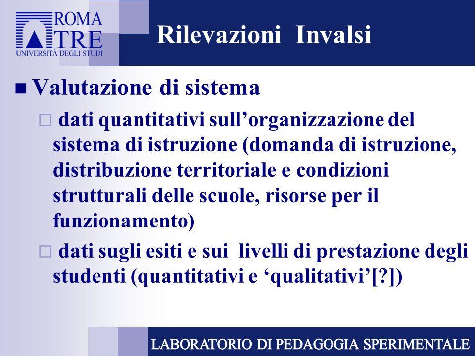 Rilevazioni Invalsi Valutazione di sistema