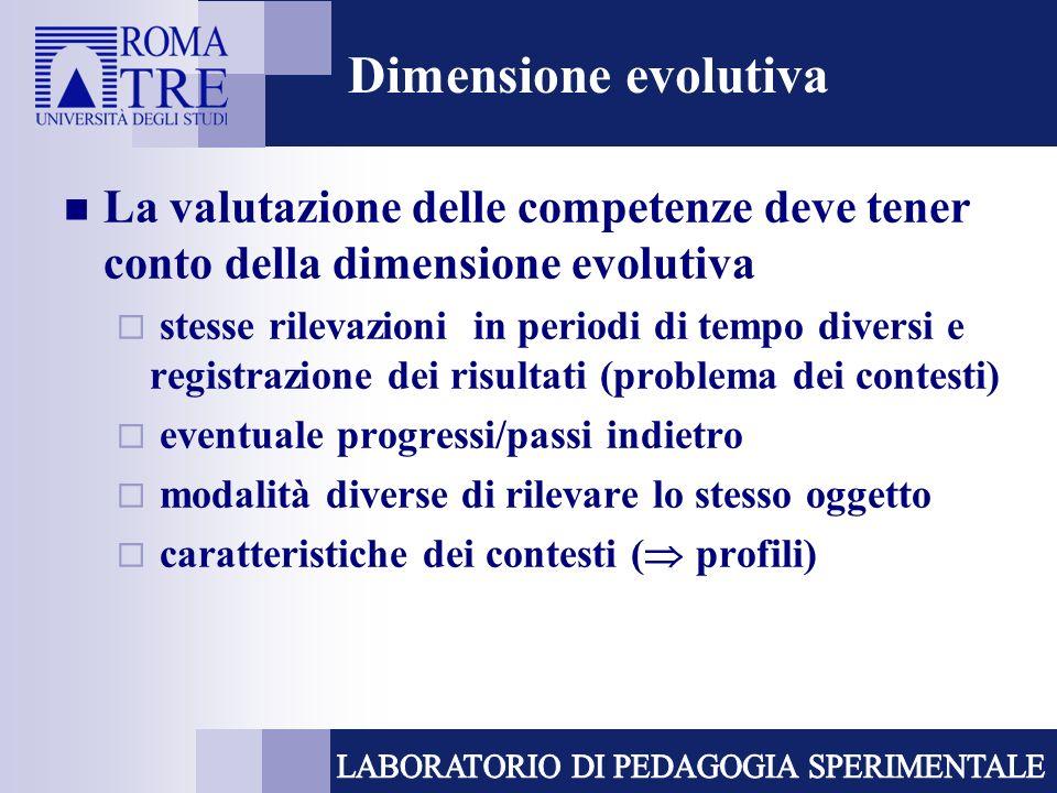 Dimensione evolutiva La valutazione delle competenze deve tener conto della dimensione evolutiva.