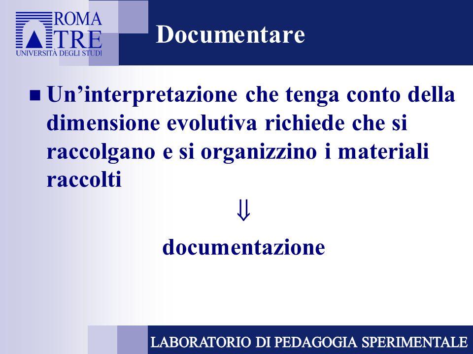 Documentare Un'interpretazione che tenga conto della dimensione evolutiva richiede che si raccolgano e si organizzino i materiali raccolti.