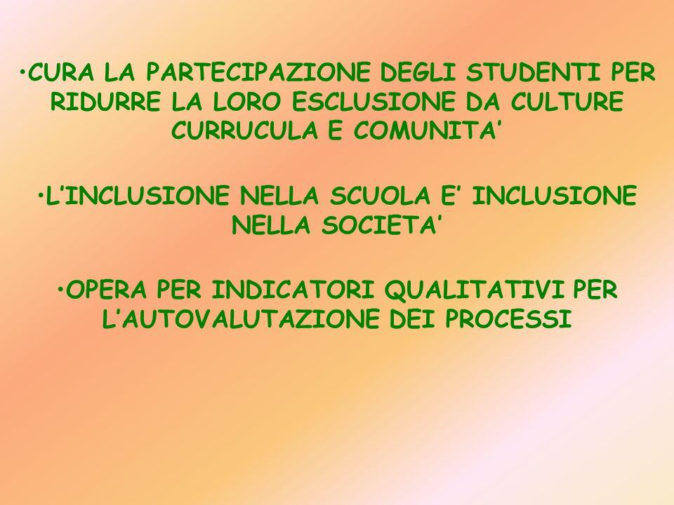 L'INCLUSIONE NELLA SCUOLA E' INCLUSIONE NELLA SOCIETA'
