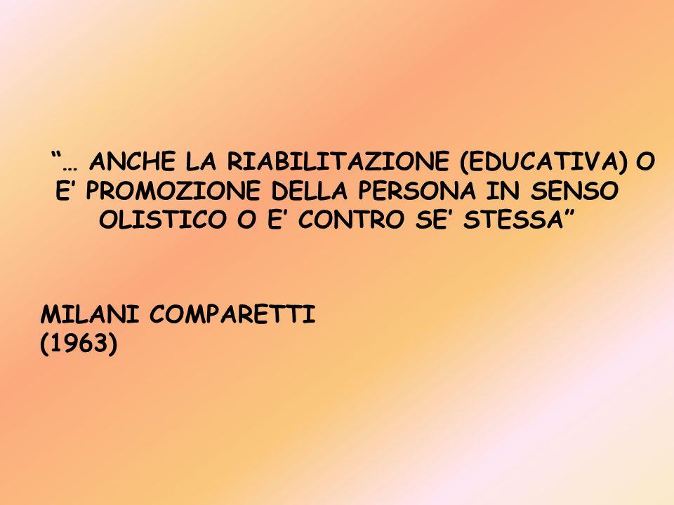 … ANCHE LA RIABILITAZIONE (EDUCATIVA) O E' PROMOZIONE DELLA PERSONA IN SENSO OLISTICO O E' CONTRO SE' STESSA