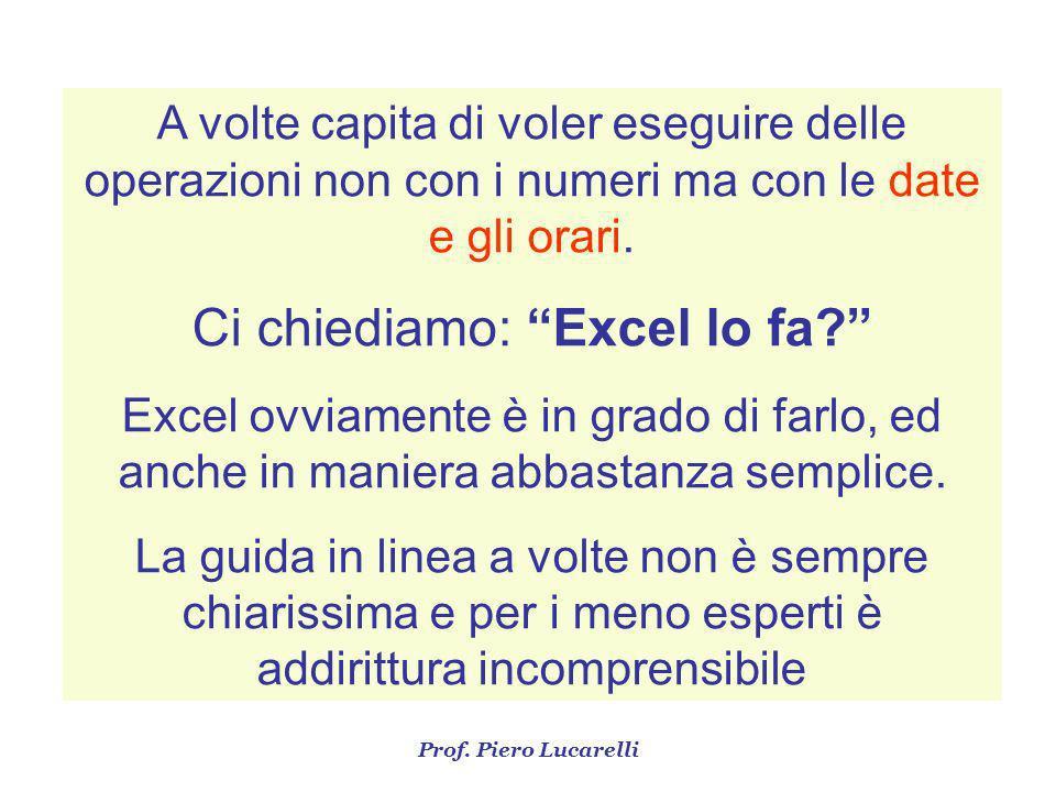 Ci chiediamo: Excel lo fa