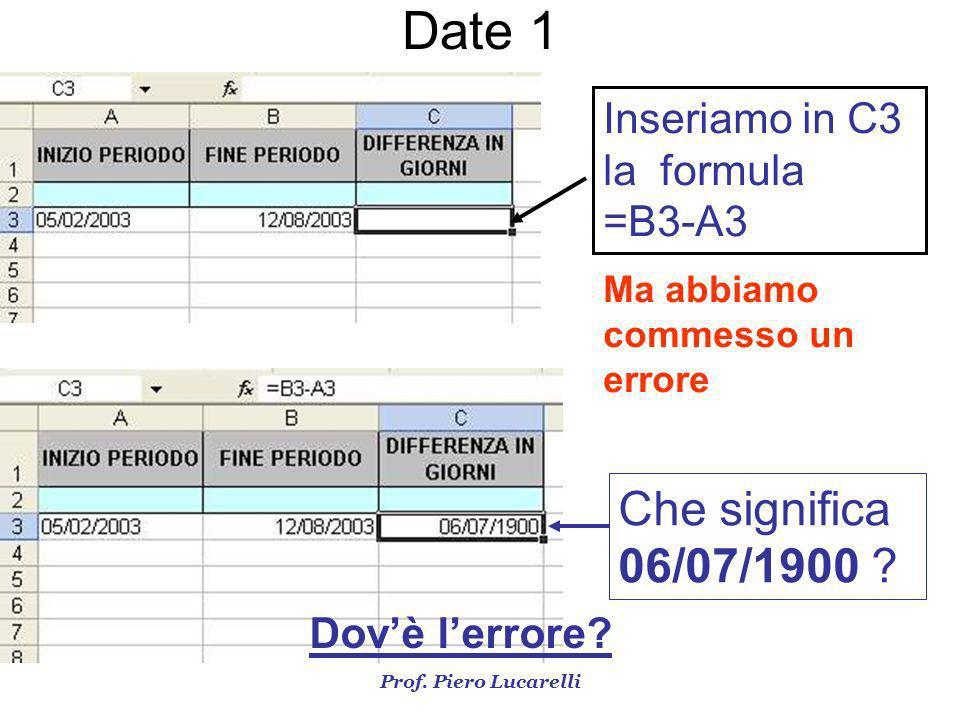 Date 1 Che significa 06/07/1900 Inseriamo in C3 la formula =B3-A3