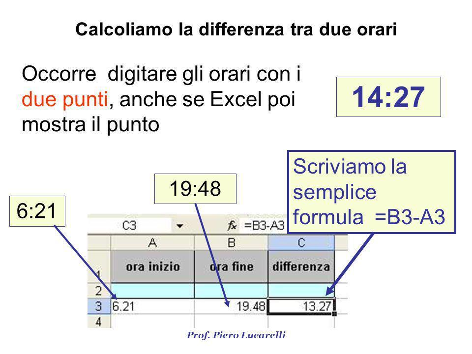 Calcoliamo la differenza tra due orari