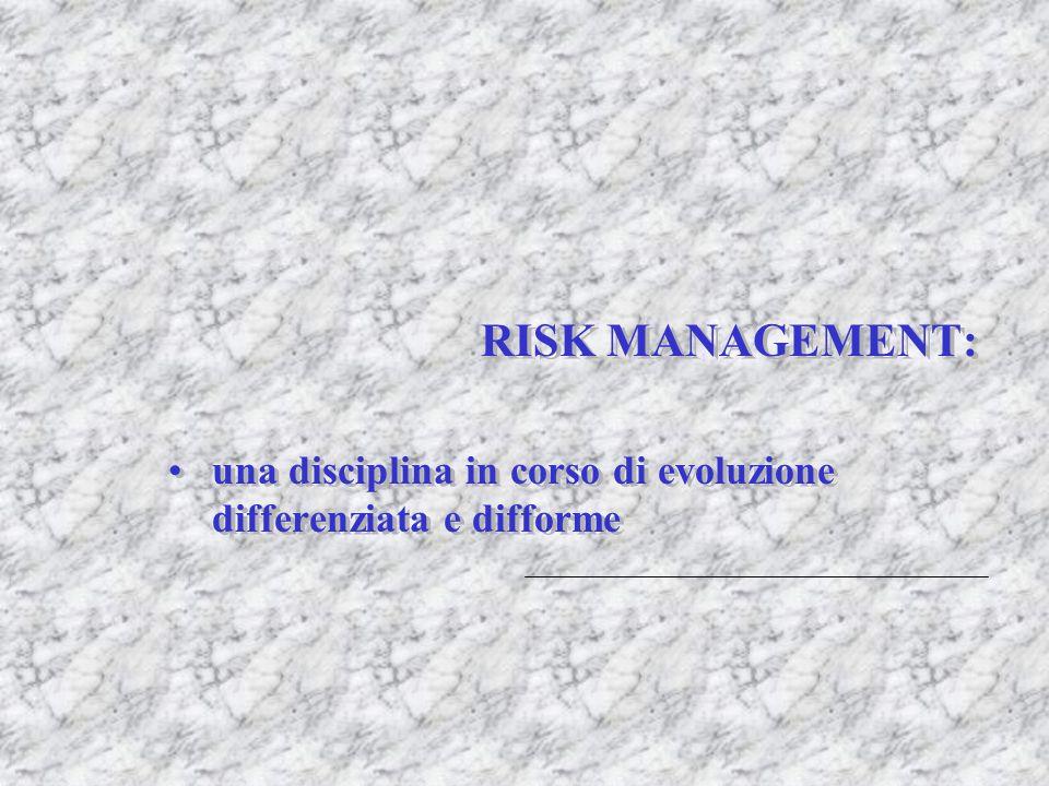 RISK MANAGEMENT: una disciplina in corso di evoluzione differenziata e difforme