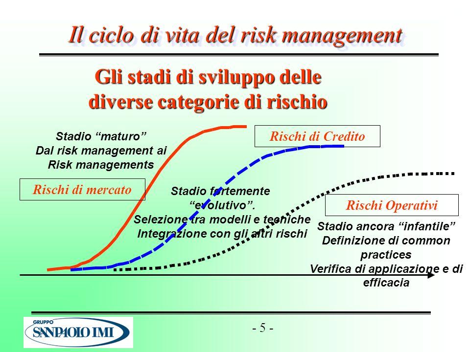 Gli stadi di sviluppo delle diverse categorie di rischio