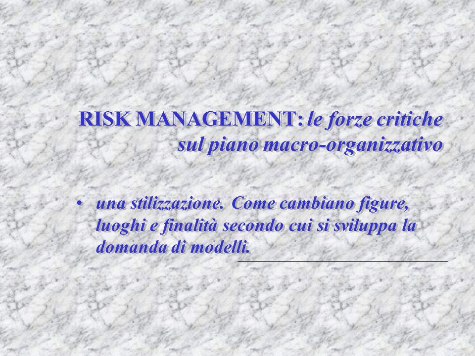 RISK MANAGEMENT: le forze critiche sul piano macro-organizzativo