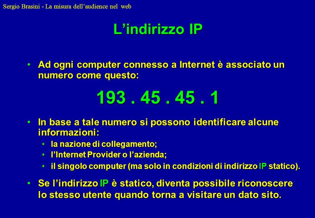 L'indirizzo IP Ad ogni computer connesso a Internet è associato un numero come questo: