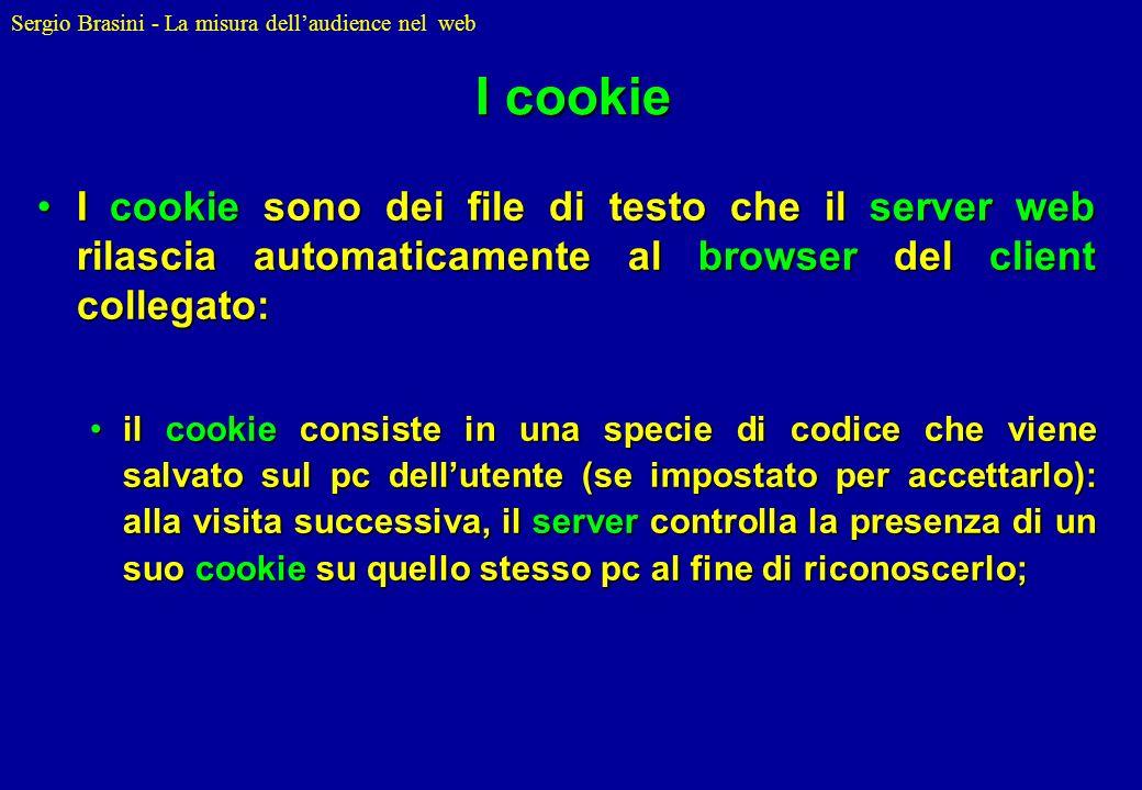 I cookie I cookie sono dei file di testo che il server web rilascia automaticamente al browser del client collegato:
