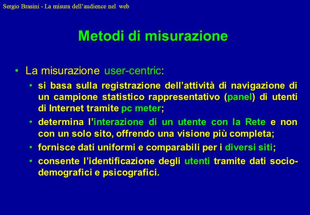 Metodi di misurazione La misurazione user-centric: