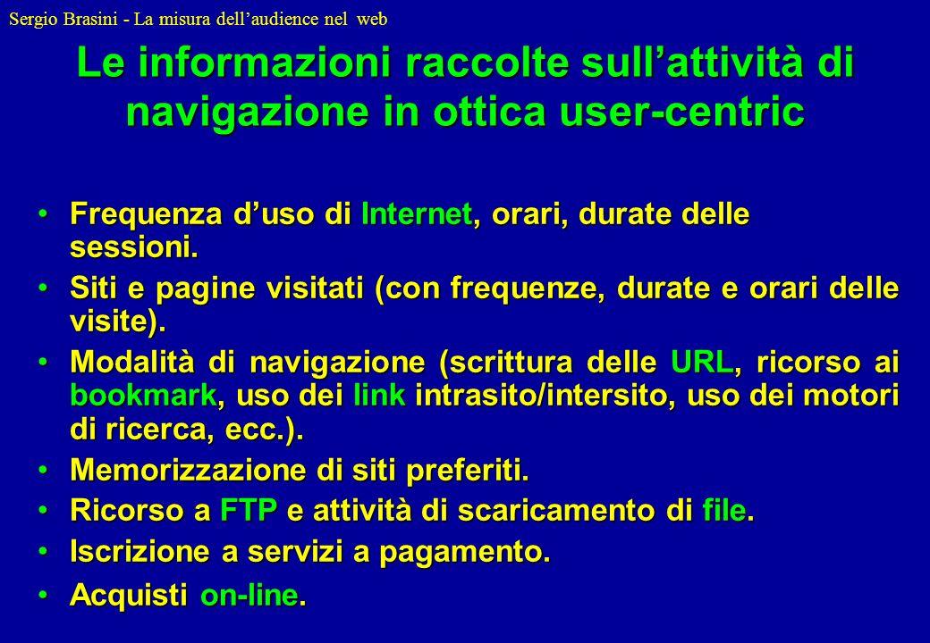 Le informazioni raccolte sull'attività di navigazione in ottica user-centric