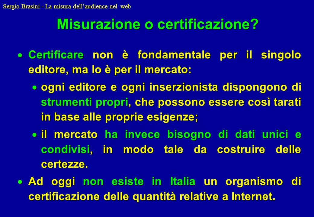 Misurazione o certificazione