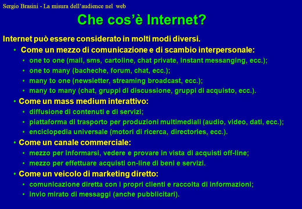 Che cos'è Internet Internet può essere considerato in molti modi diversi. Come un mezzo di comunicazione e di scambio interpersonale: