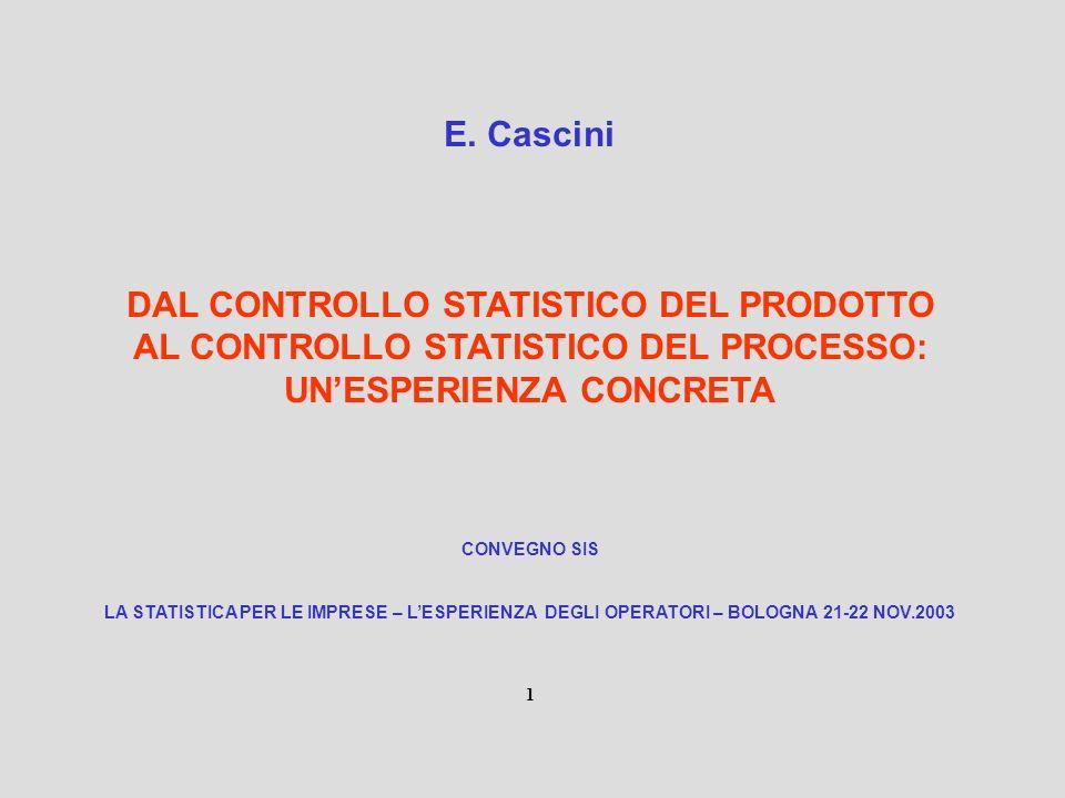 DAL CONTROLLO STATISTICO DEL PRODOTTO