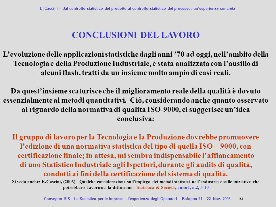 CONCLUSIONI DEL LAVORO
