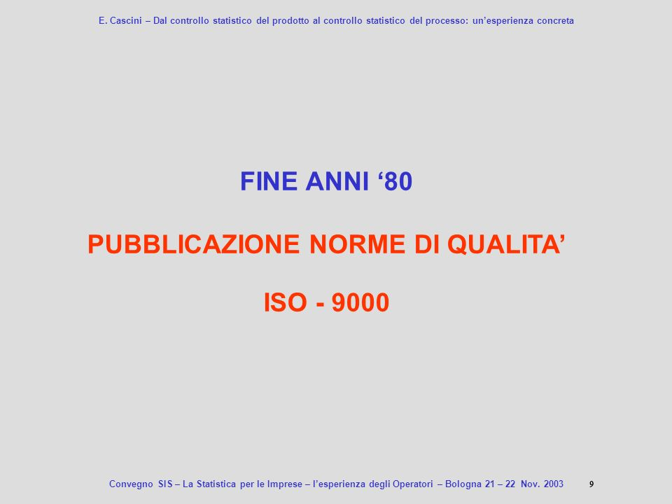 PUBBLICAZIONE NORME DI QUALITA'