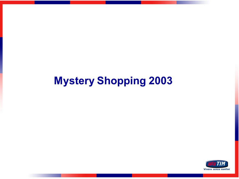 Mystery Shopping 2003