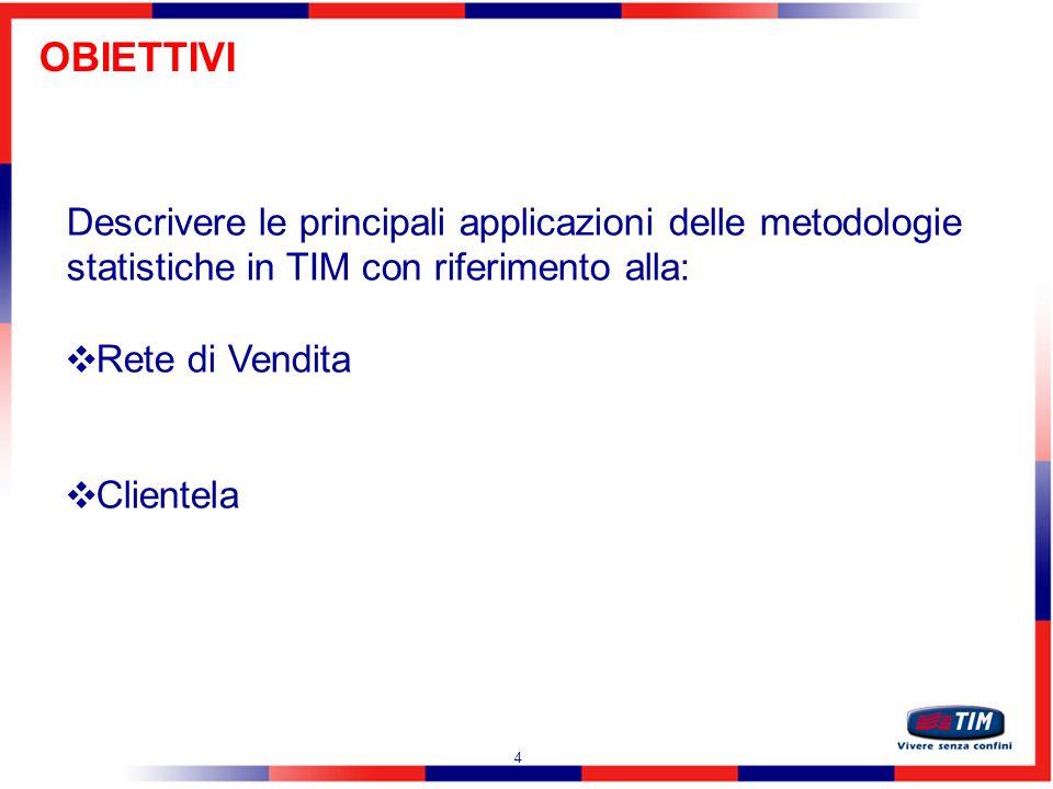 OBIETTIVI Descrivere le principali applicazioni delle metodologie statistiche in TIM con riferimento alla: