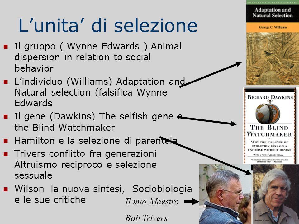 L'unita' di selezioneIl gruppo ( Wynne Edwards ) Animal dispersion in relation to social behavior.