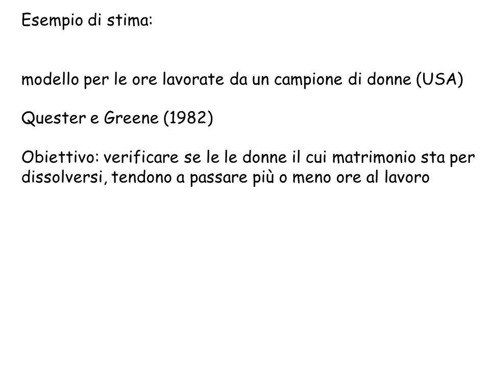 Esempio di stima: modello per le ore lavorate da un campione di donne (USA) Quester e Greene (1982)