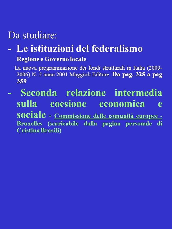 - Le istituzioni del federalismo