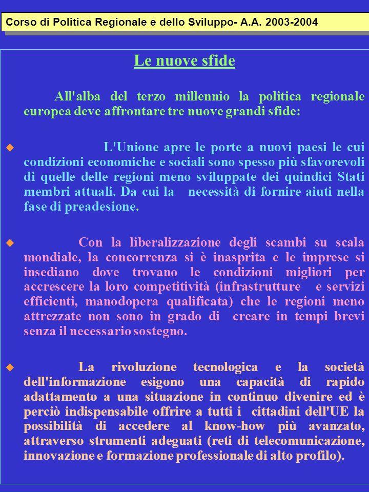 Corso di Politica Regionale e dello Sviluppo- A.A. 2003-2004