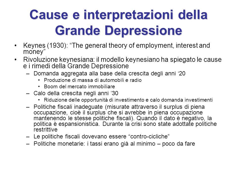Cause e interpretazioni della Grande Depressione