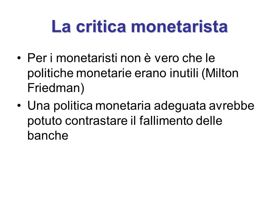 La critica monetarista