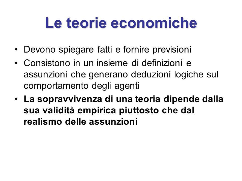 Le teorie economiche Devono spiegare fatti e fornire previsioni