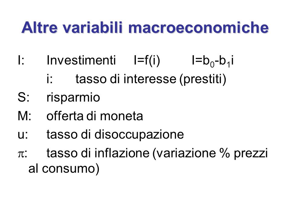 Altre variabili macroeconomiche